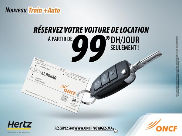 L'ONCF LANCE « TRAIN+AUTO »  LA 1ère OFFRE DE SERVICE D'INTERMODALITE  COMPLEMENTAIRE AU TRAIN
